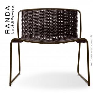 Chaise lounge RANDA, structure acier peint marron, assise et dossier tressage corde unie marron