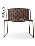 Chaise lounge RANDA, structure acier peint marron, assise et dossier tressage corde unie chanvre