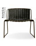 Chaise lounge RANDA, structure acier peint marron, assise et dossier tressage corde unie vert militaire