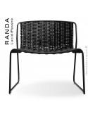 Chaise lounge RANDA, structure acier peint noir, assise et dossier tressage corde unie noir