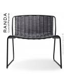 Chaise lounge RANDA, structure acier peint noir, assise et dossier tressage corde unie argent