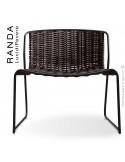 Chaise lounge RANDA, structure acier peint noir, assise et dossier tressage corde unie marron