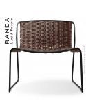 Chaise lounge RANDA, structure acier peint noir, assise et dossier tressage corde unie chanvre