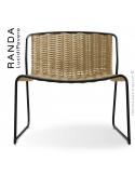 Chaise lounge RANDA, structure acier peint noir, assise et dossier tressage corde unie beige