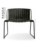 Chaise lounge RANDA, structure acier peint noir, assise et dossier tressage corde unie vert militaire