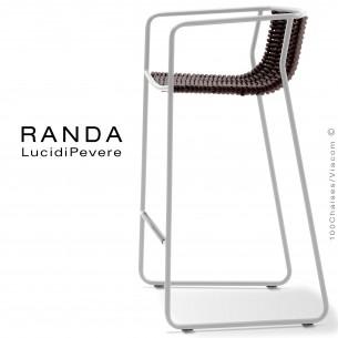 Tabouret RANDA, structure acier peint blanc, assise et dossier tressage corde unie marron