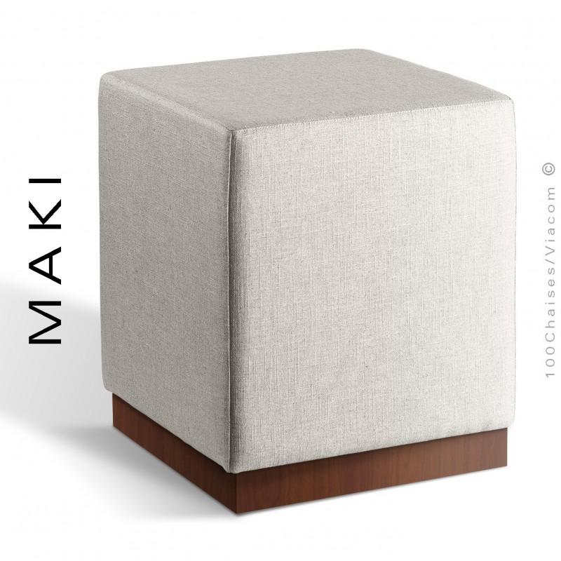 Pouf carré MAKI, socle bois vernis noyer, assise et côtés habillage tissu Esedra couleur blanc.