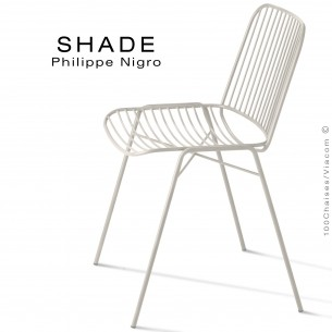 Chaise SHADE, structure 4 pieds en tube, assie et dossier en tige d'acier peint blanc pur.