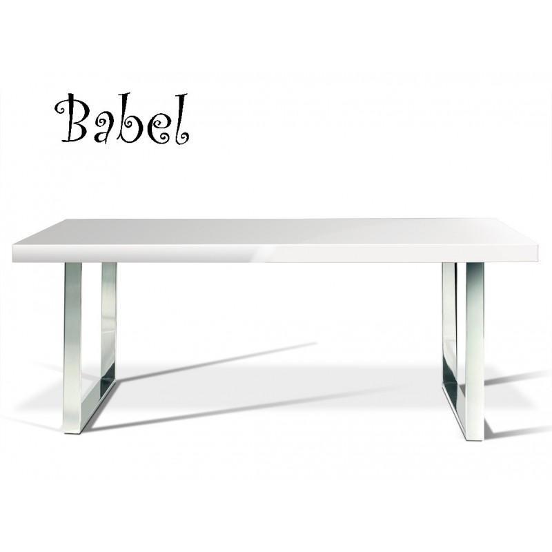 Table BABEL, finition peinture blanche mat ou brillante au choix.