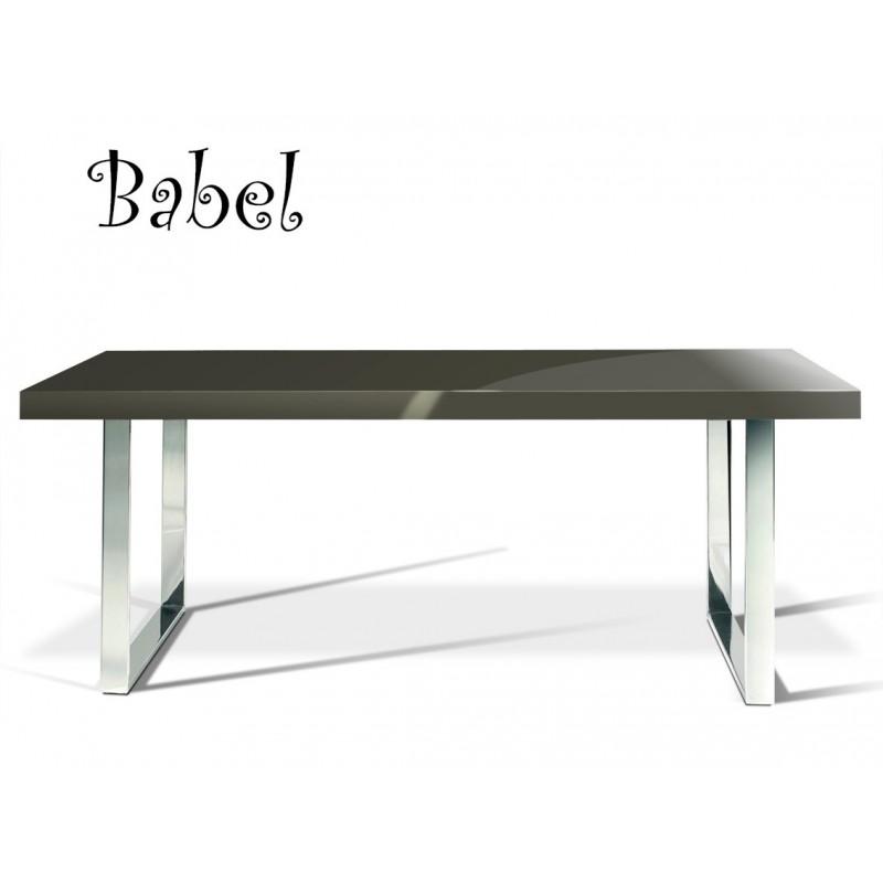 Table de salle manger ou grand bureau babel pi tement acier plateau bois peint - Table salle a manger bois acier ...