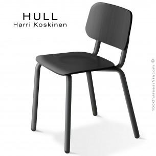 Chaise HULL, structure acier peint noir, assise et dossier hêtre teinté noir.