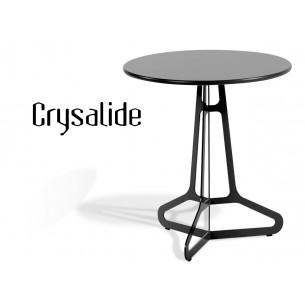 CRYSALIDE table ronde, plateau aggloméré habillage stratifié noir.