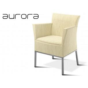 AURORA fauteuil tressé et aluminium, habillage vanille.