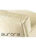 """AURORA fauteuil tressé et aluminium, détail tressage tissus technique """"Tessi-Plus""""."""