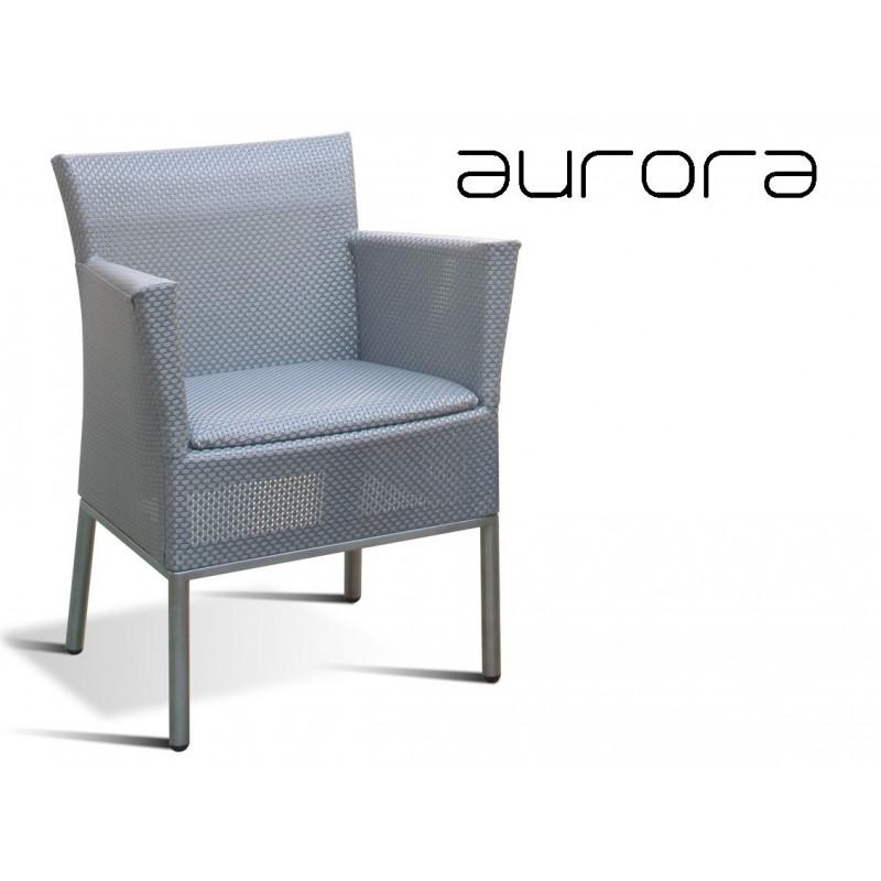 AURORA fauteuil tressé et aluminium, habillage argent.