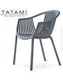 Fauteuil TATAMI, structure plastique couleur gris foncé, assise effet tressé - Lot de 4 pièces.