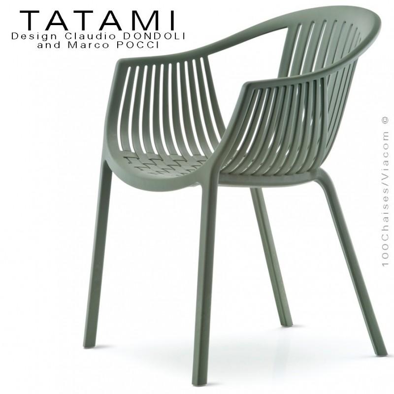 Fauteuil TATAMI, structure plastique couleur vert foncé ou kaki, assise effet tressé - Lot de 4 pièces.