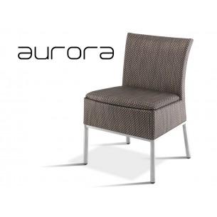 AURORA chaise tressé et aluminium habillage marron.
