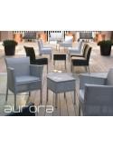 AURORA chaise et fauteuil tressé et aluminium.