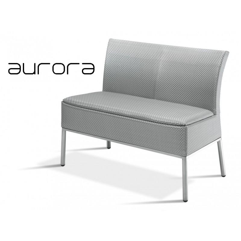 AURORA banquette 2 places, tressé et aluminium, habillage argent.