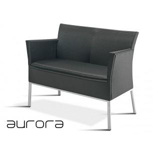 AURORA banquette 2 places avec accoudoirs, tressé et aluminium, habillage noir.