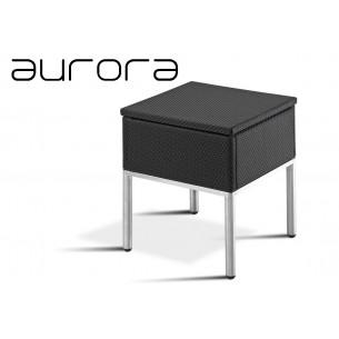 AURORA tabouret ou table d'appoint, tressé et aluminium, habillage noir.