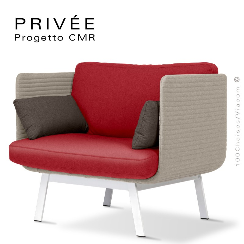 Fauteuil lounge collection PRIVÉE, structure blanche, assise 532, dossier 535.