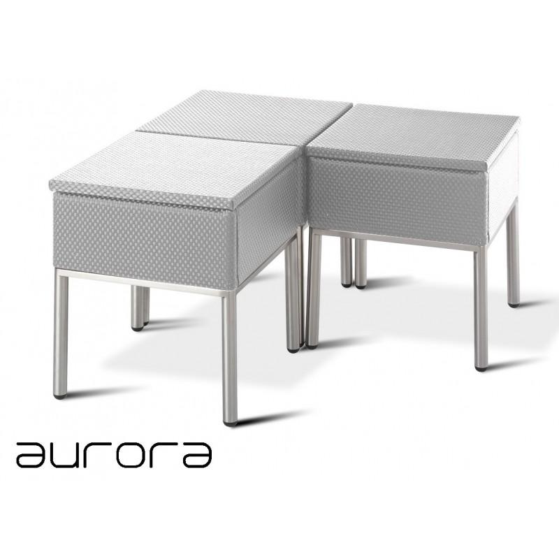 AURORA tabouret ou table d'appoint, tressé et aluminium, habillage argent.