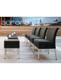 AURORA tabourets ou tables d'appoints, tressé et aluminium avec chaises, habillage noir.