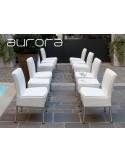 AURORA tabourets ou tables d'appoints, tressé et aluminium, habillage glace.