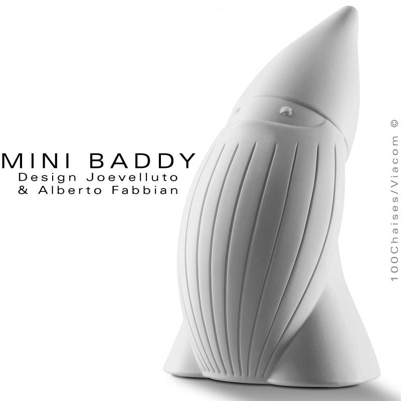 Nain de jardin BADDY Mini, statuette déco en plastique couleur blanche.