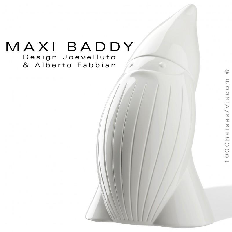 Nain de jardin BADDY-Maxi, statuette plastique déco, finition laqué blanc.