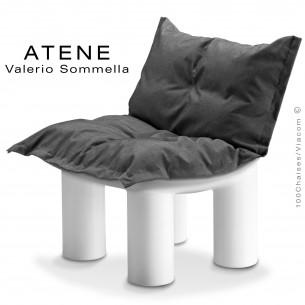 Fauteuil lounge ATENE, monobloc plastique couleur blanc, coussin.