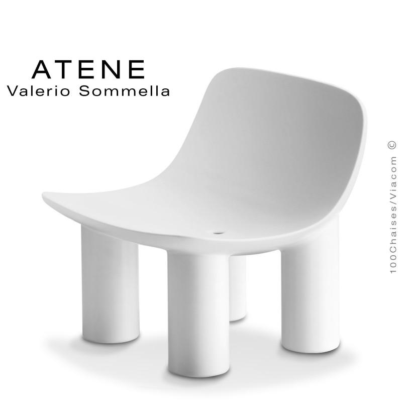 Fauteuil lounge ATENE, monobloc plastique couleur blanc.