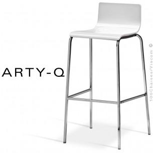 Tabouret ARTY-Q, assise bois peint blanc, piétement peint RAL-9006 ou acier chromé.