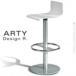 Tabouret ARTY, assise bois de hêtre peint blanc, piétement colonne centrale acier chromé.