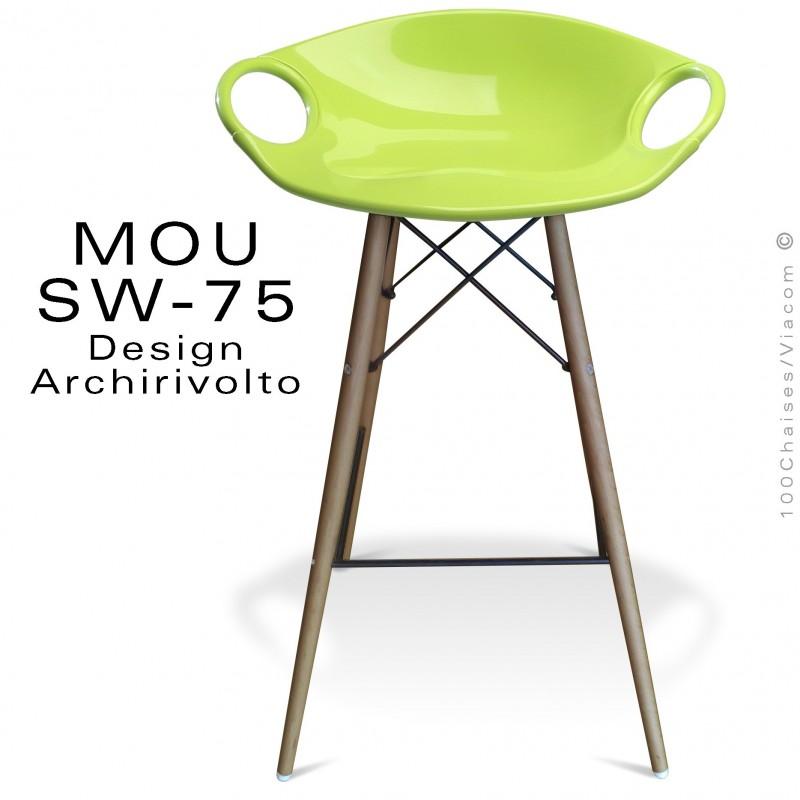 Tabouret de bar MOU-SW75 assise coque plastique vert pistache, piétement bois hêtre vieilli.