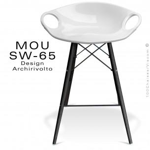 Tabouret de bar MOU-SW65 assise coque plastique blanche, piétement bois hêtre Wengé.