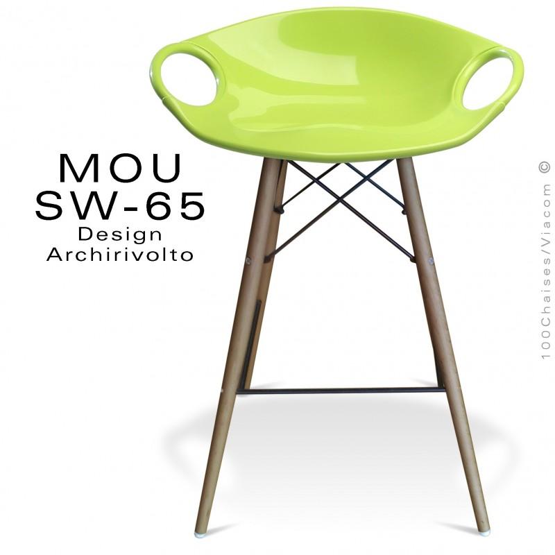 Tabouret de bar MOU-SW65 assise coque plastique vert pistache, piétement bois hêtre vieilli.