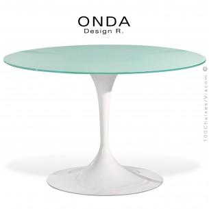 Table design ronde ONDA, piétement peint blanc, plateau 120 cm., verre sablé ou dépoli.
