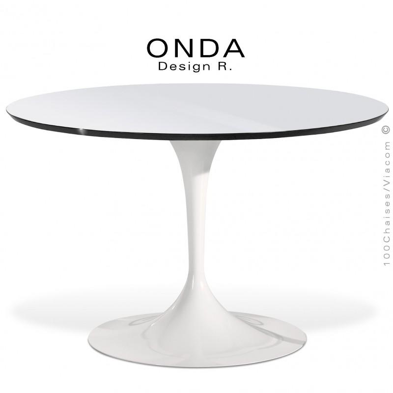 Table ronde ONDA, piétement acier peint blanc, plateau stratifié blanc brillant, chant noir.