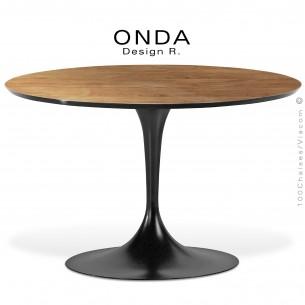 Table ronde ONDA, piétement acier peint noir, plateau stratifié Orme de Nancy, chant noir.