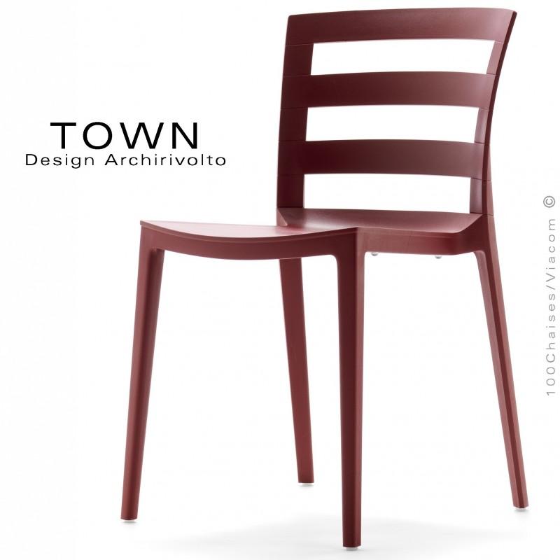 Chaise design TOWN, pour extérieur terrasse et jardin, structure plastique  couleur - Lot de 4 pièces. -