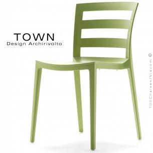 Chaise design TOWN, pour extérieur terrasse et jardin, structure plastique couleur vert pâle - Lot de 4 pièces.