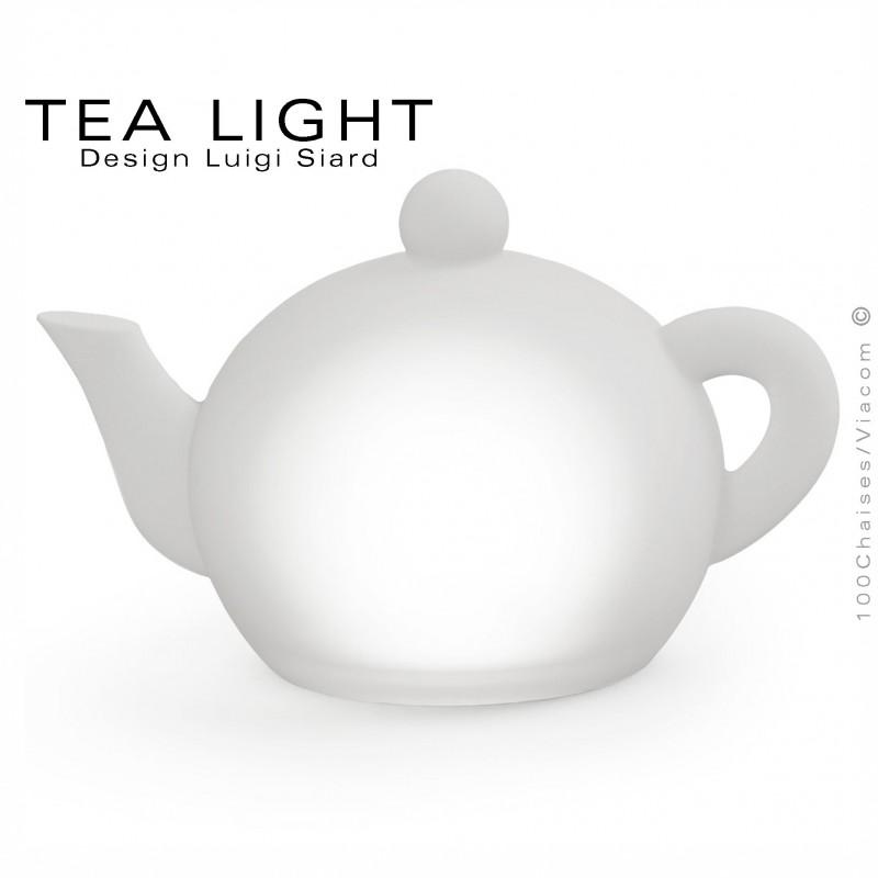 Théière lumineuse TEA-LIGHT, structure plastique, éclairage LED couleur, chargement induction.