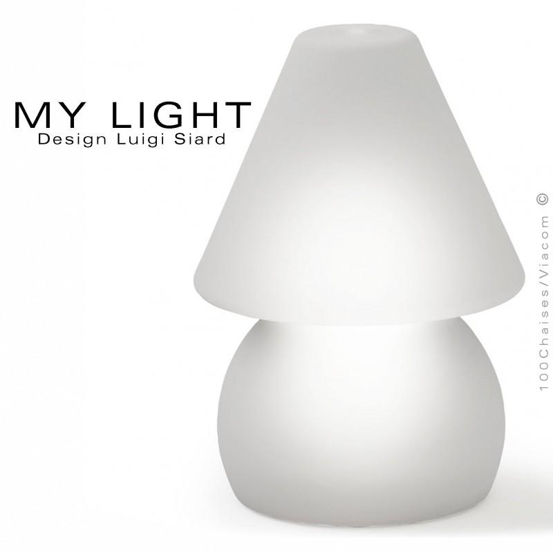 Lampe de table lumineuse MY-LIGHT, structure plastique, éclairage LED couleur, chargement induction.