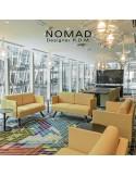 Banquette design NOMAD, piétement bois teinté au choix, assise et dossier garnis habillage tissu tissé.