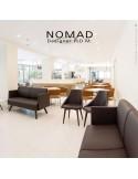 Banquette design NOMAD, piétement bois ou acier, assise et dossier garnis habillage tissu tissé, feutre ou cuir synthétique.