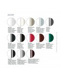 Palette finition peinture pour piétement acier banquette design NOMAD, assise et dossier garnis habillage tissu.
