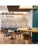 Tabouret et chaise bois avec dossier FIFTY assise et piétement 4 pieds en bois teinté au choix.